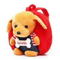 男童卡通可爱幼儿园书包1-3-5岁儿童小背包女孩迷你双肩包毛绒包 红色 小狗