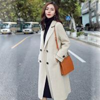 毛呢大衣 女士时尚呢子大衣2020冬季新款韩版女式拼接双排风衣学生中长款西装领女装外套
