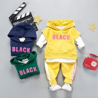 宝宝春装儿童连帽卫衣套装韩版男童女童时尚三件套2潮洋气0-1-3岁
