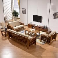 现代新中式实木沙发床小户型可翻折两用橡木沙发123组合