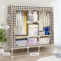 简易布衣柜网红实木组装加粗加固木质折叠布艺家用挂单人衣橱布柜 2门 组装