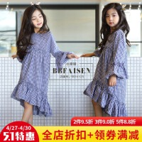 女童连衣裙2018春装新款韩版中大儿童纯棉格子长袖公主裙女孩长裙