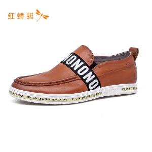红蜻蜓圆头潮流英文元素时尚男单鞋