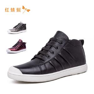 红蜻蜓圆头时尚系带亮面低跟舒适男单鞋