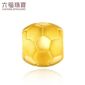 六福珠宝小金球足球黄金转运珠串珠男足金手绳定价L01A1TBP0038