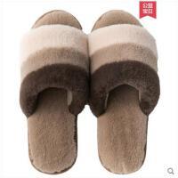 秋冬季棉拖鞋女室内保暖家用厚底毛绒情侣软底防滑居家毛毛拖鞋男