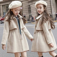 女童呢子大衣2020新款韩版夹棉加厚秋冬款中大童收腰毛呢外套