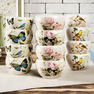 Evergreen爱屋格林加深加厚印花陶瓷碗 量贩4件装面碗汤碗 景德镇水果碗