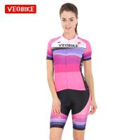 夏季短袖骑行服套装女 修身自行车骑行服女车队