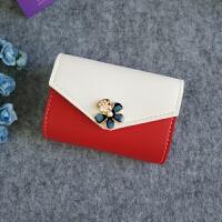 韩版卡包女式小巧多卡位名片夹银行卡片收纳包软皮可爱花朵卡夹 红色