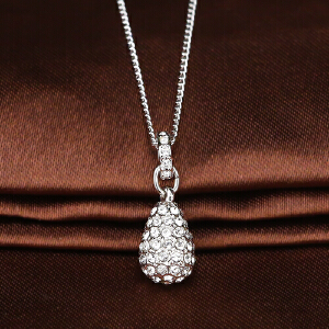 施华洛世奇Swarovski银色镶钻泪滴项链1023992