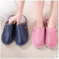 棉拖鞋防水女男冬季情侣包跟厚底保暖居家居室内地板PU毛拖鞋