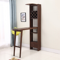 美式实木小吧台桌家用客厅靠墙高脚桌隔断柜酒柜吧台一体现代简约 组装 支架结构