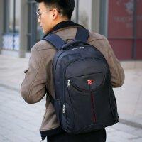 背包男商务旅行双肩包休闲大学生男士多功能17寸双肩笔记本电脑包 黑色