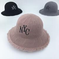 儿童帽子夏季薄款大檐女童遮阳帽2-8岁宝宝草帽防晒男童沙滩帽潮 皮粉色 草帽NC 均码