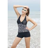 奇海女士游泳衣分体两件套黑色M码QH10209-6