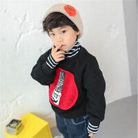 儿童卫衣加绒2017冬季新款韩版男童高领外套条纹加厚冬装保暖