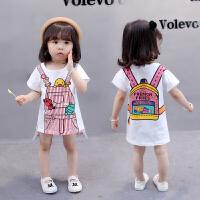 女童中长款T恤裙 儿童女宝宝卡通打底衫纯棉连衣裙子