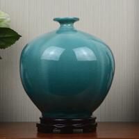 家居样板房软装饰品摆件景德镇陶瓷花瓶蓝色创意冰裂欧式客厅插花
