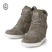 ASH艾熙 COOL高帮真皮休闲坡跟灰色透气内增高女鞋84940