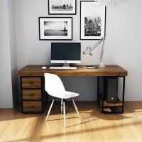 北欧双人实木电脑桌带抽屉带主机架工业风定制书桌长书桌子