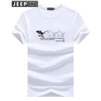 JEEP吉普短袖T恤男动物印花休闲透气半袖t恤夏季薄款纯棉圆领打底衫T恤背心男士服装