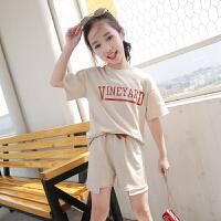 夏季女童套装2018新款韩版中大童休闲两件套女孩短袖短裤运动服潮