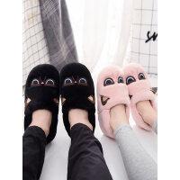 情侣可爱家居家拖鞋简约厚底鞋子 女士产后防滑月子棉鞋 韩版儿童包跟卡通棉拖鞋女