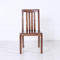 黑胡桃木现代中式简约餐厅家用靠背椅子 实木高靠背餐椅
