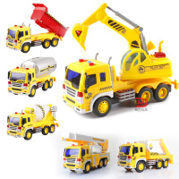 开拓者文艺惯性工程车声光模型会讲故事工程车吊车搅拌车儿童玩具