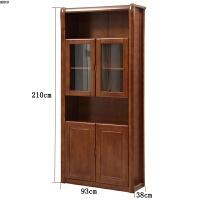 实木书柜书架组合带门实木转角玻璃储物柜展示柜现代中式书橱