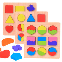 高档木制蒙氏教具形状板颜色认知几何形状等分数盘认知配对拼板