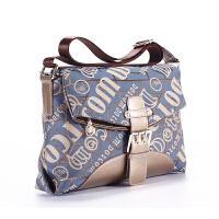 斜挎包女包旅游背包新款时尚潮流休闲斜跨包帆布包大容量dm 蓝布