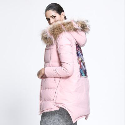 坦博尔中长款羽绒服女连帽大毛领大口袋印花冬季羽绒衣外套TB3302