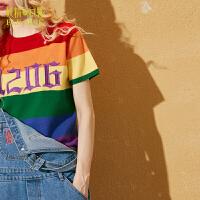妖精的口袋未来色彩秋冬装新款修身短款条纹刺绣短袖毛衣女