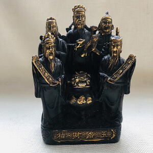 纯铜鎏金 五路财神
