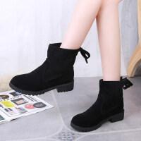 平跟显瘦chic学生加绒短靴切尔西靴女秋冬百搭韩版中筒靴