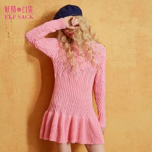 妖精的口袋真爱魔法秋冬装新款圆领收腰荷叶边纯色连衣裙女
