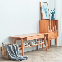 北欧换鞋凳简约现代小户型家用门口多功能纯实木收纳储物架换鞋柜