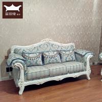 欧式布艺沙发123组合客厅小户型实木网红美容院简欧三人沙发