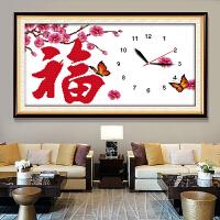 新款客厅家用时钟 卧室时间绣挂钟简单线绣十字绣钟表绣