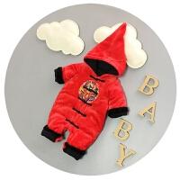 婴儿衣服冬季男女宝宝连体衣加厚加绒新生儿新年爬衣6-9-12个月潮