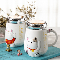 创意韩版陶瓷带盖勺马克杯学生办公室喝水杯子可爱大肚咖啡杯女