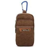 男士腰包帆布穿皮带腰挂包夏季男土用竖款迷你小包6寸的装手机包