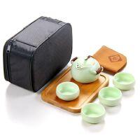 户外旅行茶具快客杯一壶二杯整套车载旅游便携包套装办公陶瓷茶壶