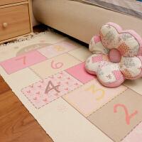 卧室床边地垫子儿童房间地毯宿舍地板垫满铺可爱长方形棉编织地垫可机洗