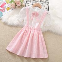 女童套装连衣裙夏装蕾丝短袖小女孩背带裙夏季儿童两件套裙子