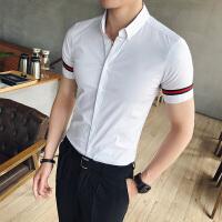 夏季潮男短袖衬衫韩版商务休闲白衬衣潮流发型师夜店男装修身寸衫