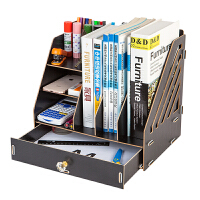 木质文件架资料框收纳盒办公用品文件夹子多层学生用简易桌上书架木制文具