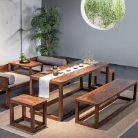 新中式家具实木禅意茶室桌简约原木功夫茶台桌子老榆木椅组合